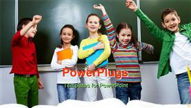PowerPoint template displaying five children raising hands and smiling while holding books