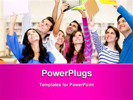 PowerPoint template displaying happy group of students celebrating with arms up