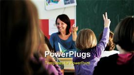 Happy young teacher woman at elementary school powerpoint theme