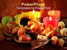 Still life for autumn and Thanksgiving in warm tones powerpoint template