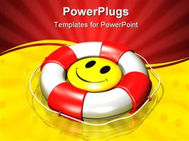 Large yellow smiley face floating at the center of a large red and white lifesaver template for powerpoint