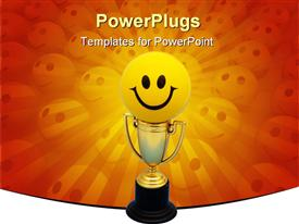 PowerPoint template displaying happy face atop gold trophy on orange background