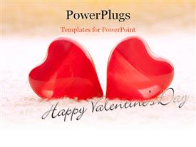 PowerPoint template displaying macro two red hearts on yellow towel in the background.