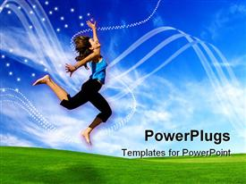 PowerPoint template displaying beautiful athletic woman jumping on a green meadow