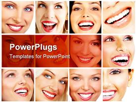 PowerPoint template displaying twelve tiles with faces of pretty ladies smiling happily