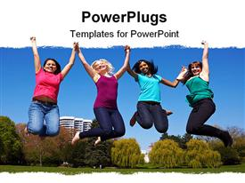 PowerPoint template displaying four happy young women jumping into the air