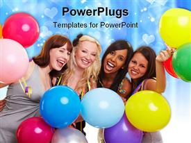 PowerPoint template displaying four happy young women with many colorful balloons