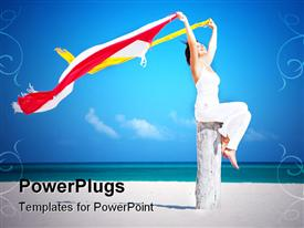 PowerPoint template displaying happy woman with colorful sarongs on the beach