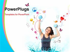 PowerPoint template displaying young woman with dumbbells very happy with objects like butterflies, gold fish and other