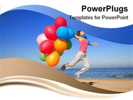 PowerPoint template displaying a lady with lots of multi colored balloons jumping on a beach