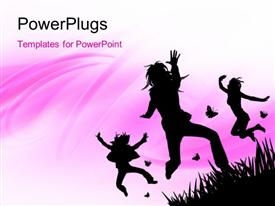 PowerPoint template displaying a number of girls jumping in the air