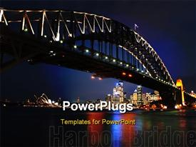 PowerPoint template displaying the Sydney bridge with skyscrapers on the other side