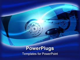 PowerPoint template displaying a hard drive placed inside a machine with blue background