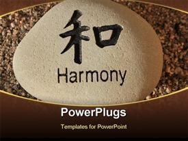 PowerPoint template displaying positive reinforcement word Harmony engrained in a rock