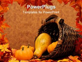 PowerPoint template displaying fall leaves with pumpkins and gourds in basket on brown background fall harvest frame