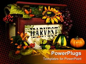Old wooden box overflowing with autumn flowers, foliage, a and fruit powerpoint theme