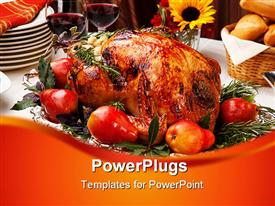 PowerPoint template displaying delicious roasted turkey with savory vegetable side dishes in a fall theme