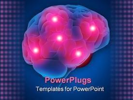 PowerPoint template displaying 3D depiction of human brain with five pain centers glowing