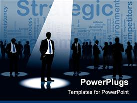 PowerPoint template displaying lots of business people having a strategic meeting with one in the spot light