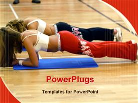 PowerPoint template displaying aerobics fitness class