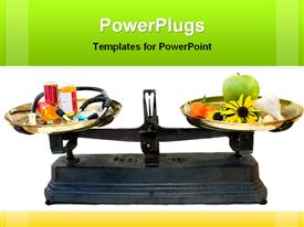 PowerPoint template displaying balancing scale weighting fruits and natural herbs with medical drugs and aids
