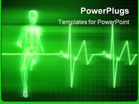 PowerPoint template displaying anatomy depiction of a running skeleton and a heartbeat