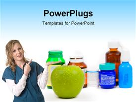 PowerPoint template displaying apple as an alternative to medicine over white