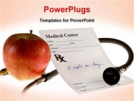 PowerPoint template displaying red apple, stethoscope and doctor prescription note in pink background