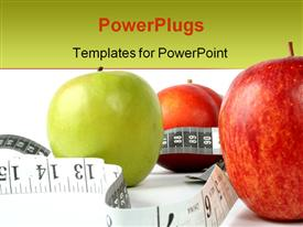 Apples with measuring tape powerpoint theme