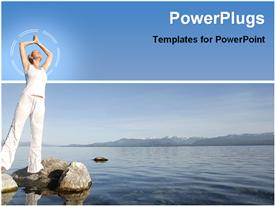 PowerPoint template displaying attractive woman in white meditating by still water in the background.