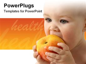 Beautiful child eats red apple close-up isolated over white template for powerpoint