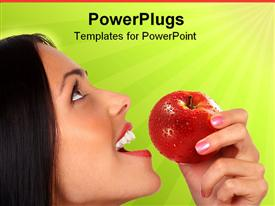 PowerPoint template displaying a girl going to eat an apple