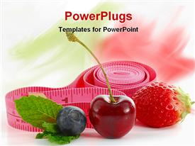 PowerPoint template displaying pink measuring tape with berries, apple and green leaf on white background