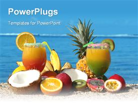 PowerPoint template displaying tropical fruits and two cocktails on beach, vacation, travel, island
