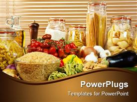 PowerPoint template displaying display of healthy foods including various vegetables jars of pasta rice seeds onions garlic olive