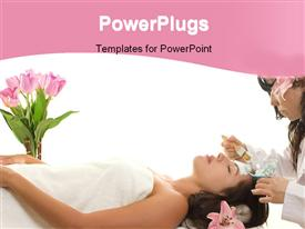 PowerPoint template displaying a girl being provided proper skin care with white background