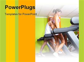 PowerPoint template displaying fitness boy and girl in gym in the background.