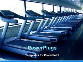 PowerPoint template displaying fitness center