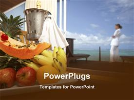 PowerPoint template displaying fresh fruits ice bucket champagne tray beach background, hospitality, travel, hotel
