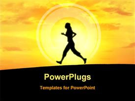 PowerPoint template displaying girl doing jogging