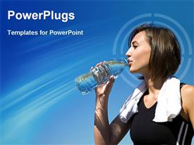 PowerPoint template displaying girl drinking water