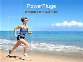 PowerPoint template displaying girl running on the beach