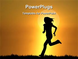 PowerPoint template displaying girl running during sunset