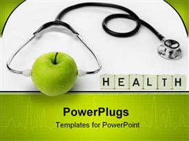 PowerPoint template displaying a health related theme with a stethoscope and an apple