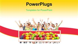 PowerPoint template displaying collection of nutritious fruits with group of happy people in background