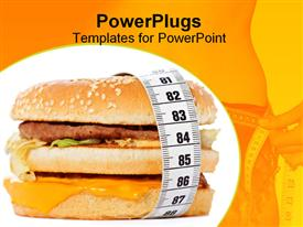 Hamburger wrapped around a measurement tape against white background powerpoint template