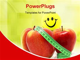 PowerPoint template displaying diet depiction with a smiley and measuring tape on three red apples