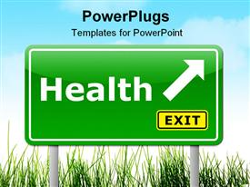 PowerPoint template displaying health exit sign with arrow in grass on light blue sky background