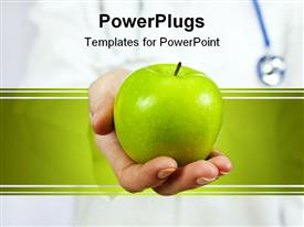 Healthy eating or lifestyle concept shot of a doctor holding and offering a green apple template for powerpoint