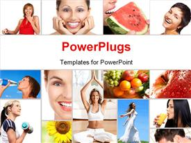 PowerPoint template displaying lots of tiles with ladies performing different exercises